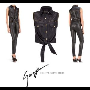 giuseppe zanotti • NEW • leather tie front top